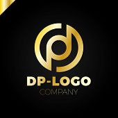 Постер, плакат: Letter D And Letter P Logo Pd Dp Initial Overlapping In Circle Letter Logotype