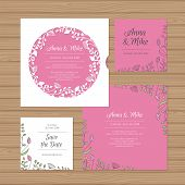 Wedding Invitation Or Greeting Card With Flower Wreath. Cut Laser Square Envelope Template. Wedding poster