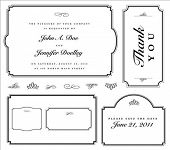 Set of matching vector frames and ornaments with sample text. Perfect as invitation or announcement.