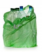 stock photo of plastic bottle  - simple plastic bottles in a garbage bag on a white background - JPG