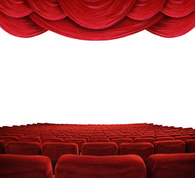 pic of movie theater  - Classic cinema with red seats and curtains - JPG