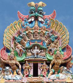 stock photo of meenakshi  - Fragment of Meenakshi temple in Maduray  - JPG