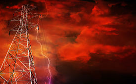 picture of power lines  - Dramatic Image of Electricity Pylon with Lightning in Background - JPG