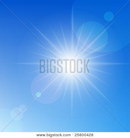 Vector sun on blue sky.