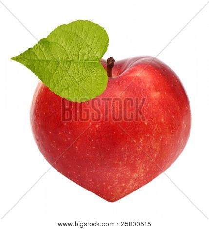 Red apple as a heart symbol isolated over white background