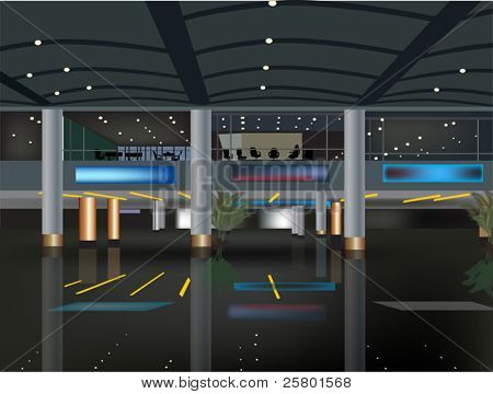 illustration with airport interior