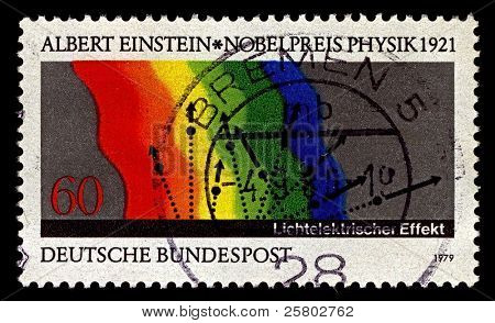 GERMANY-CIRCA 1979:A stamp printed in Germany shows image of In the photoelectric effect, Albert Einstein, circa 1979.