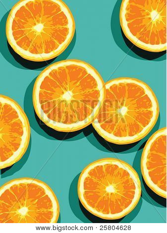 oranges on blue