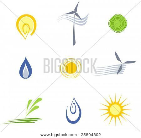 vector logo elements set 4-energy