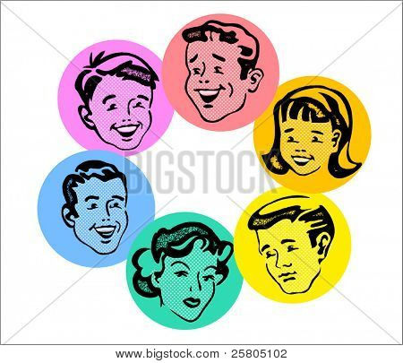 set of retro family faces