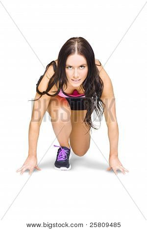 Female Marathon Runner On White Background