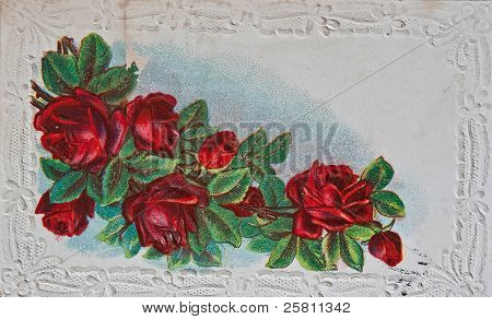 Vintage Postcard With Red Roses