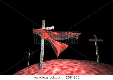 Three Crosses On Black