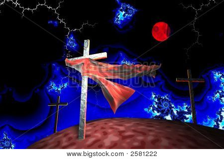 Three Crosses In Fractal Storm