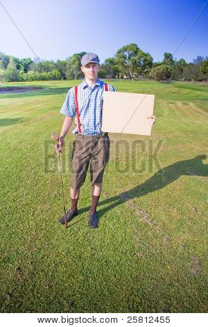 Golf Player Holding Sign