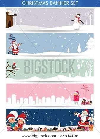 Mega set of Christmas banners with Santa, snowman and copy space for your text