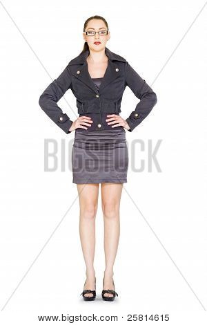 Female Primary School Teacher Isolated On White