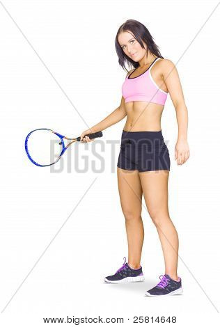 Fit Active Female Sports Person Playing Tennis