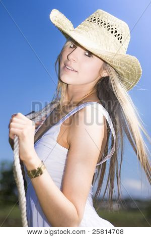 Young Woman With Cowboy Hat