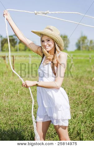 Farming Woman With Rope