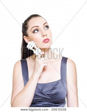 Young Modern Business Woman Holding Light Bulb
