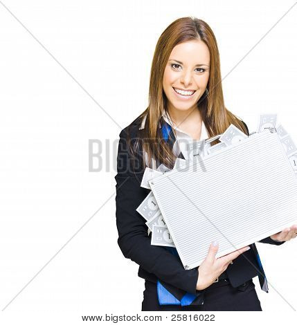 Rich Successful Business Woman Smiling With Money Briefcase