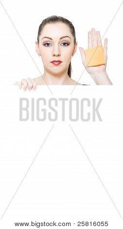 Sales Woman Holding Blank White Shopping List