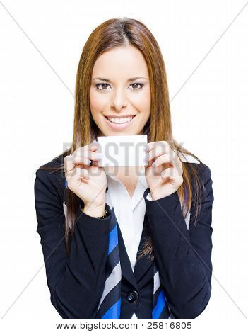 Happy Business Woman Holding Blank Business Card