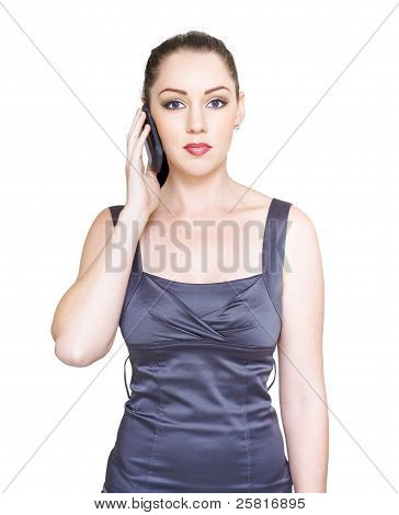 Unhappy Young Business Woman On Telephone Call