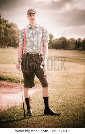 Unhappy Old Fashioned Golfer