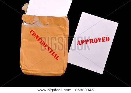 Envelope With Top Secret Stamp And Approved Papers