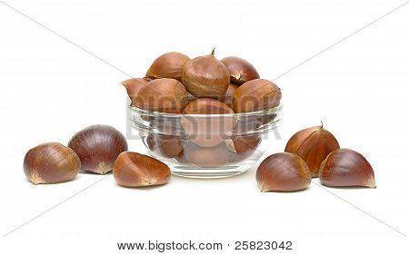Chestnuts (castanea Sativa) In A Glass Bowl