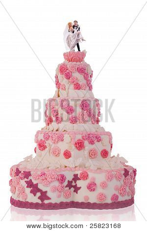 Beautiful Wedding Cake, With Pink Roses. Isolated On White Background