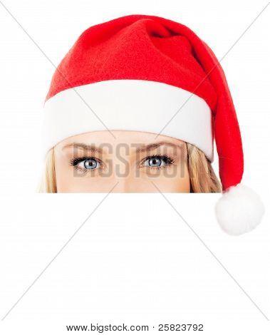 Pretty Santa Girl With Copy Space
