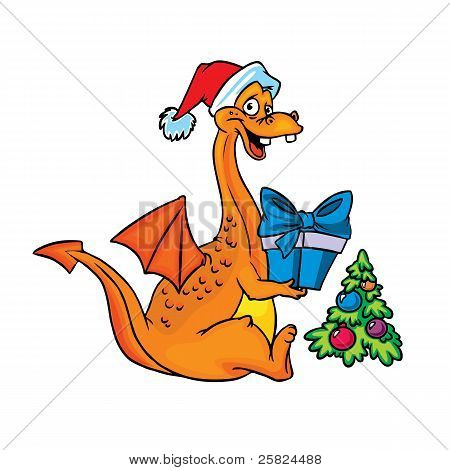 happy orange dragon with Christmas present