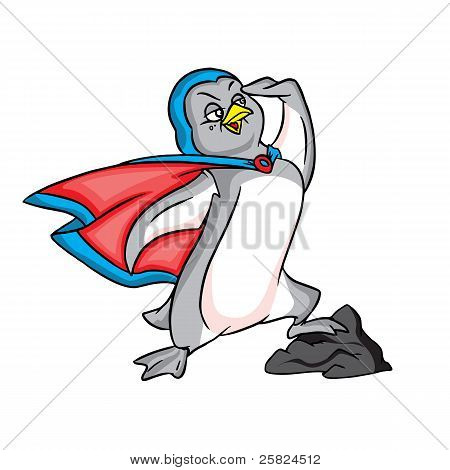 Penguin superman in blue cape