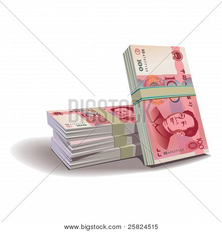 Yuan banknotes vector illustration, financial theme