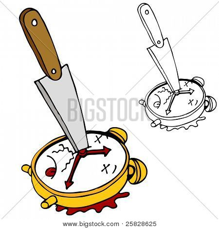 An image of killing time with a clock stabbed with a knife.
