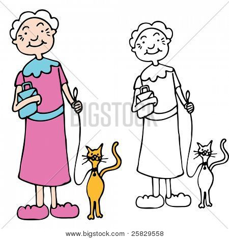 An image of a senior woman walking cat on a leash.