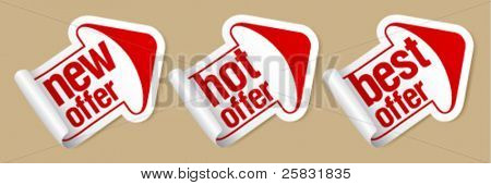 New hot offer stickers in form of arrow.
