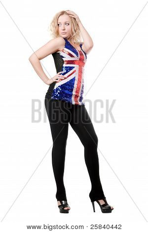 Sexy Woman Posing In Union-flag Shirt