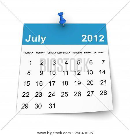 Calendar 2012 - July