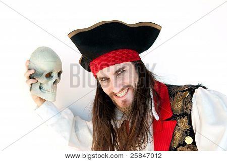 Pirate holding skull