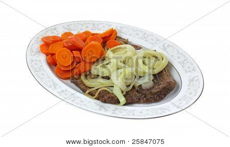 Steak Smothered Onions Fresh Carrots