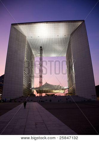 La Grande Arche In La Defense In Paris At Sunset
