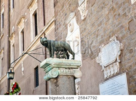 The statue of Romul Remus and she-wolf in Rome Italy