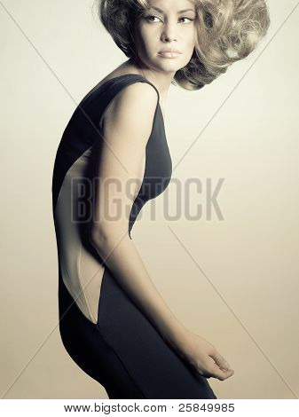 Young Lady In Elegant Black Dress