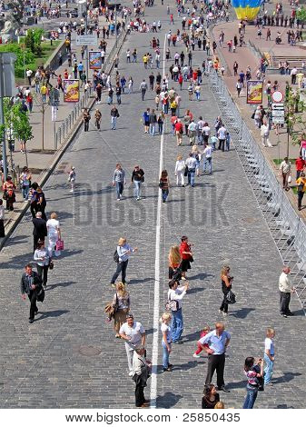 Kiev/Ukraine - May 09, 2010: people walks over the stone brick street in the center of Kiev city