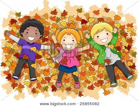 Illustration of Kids Playing with Autumn Leaves