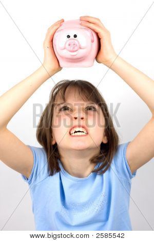 Angry Girl Shaking Piggy Bank